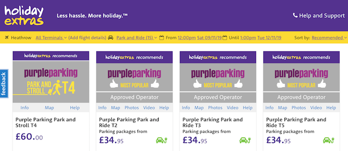 Green charging icons on the Holiday Extras website
