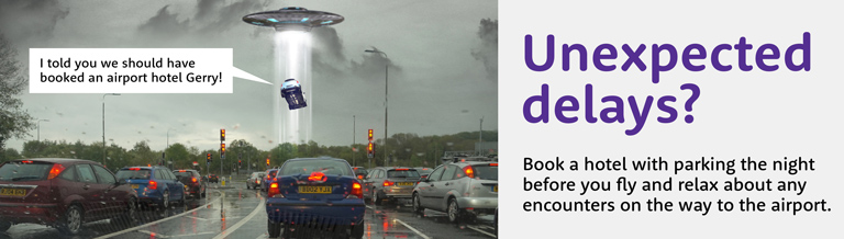 unexpected UFO airport parking banner