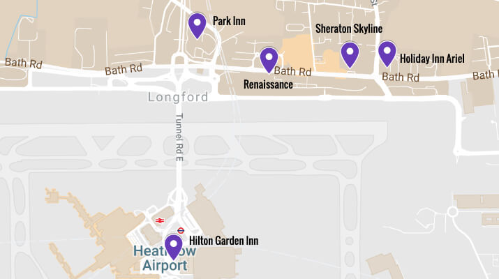 Terminal 2 Heathrow Closest Hotels Map