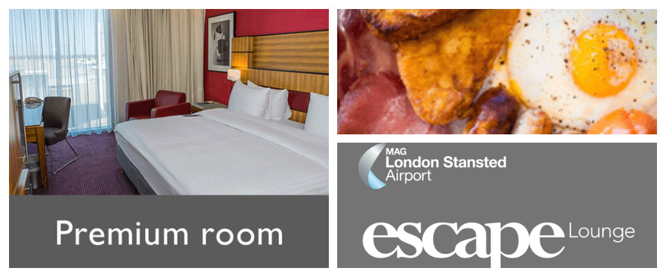 stansted airport hotels upgrades breakfast, radisson blu premium room, and escape lounge logo