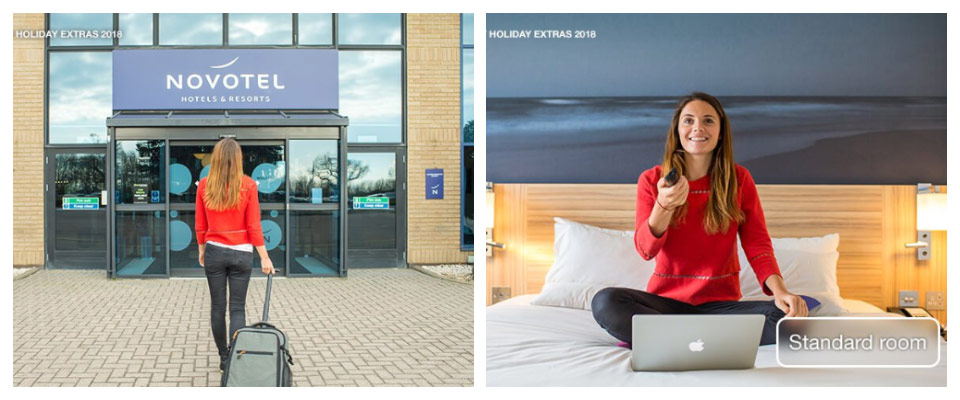 novotel stansted airport exterior and bedroom