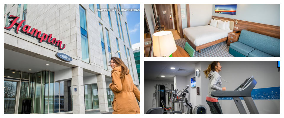 hampton by hilton stansted airport exterior, bedroom and gym