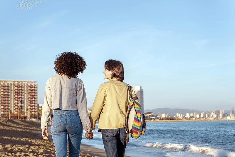 Couple on Barceloneta Beach