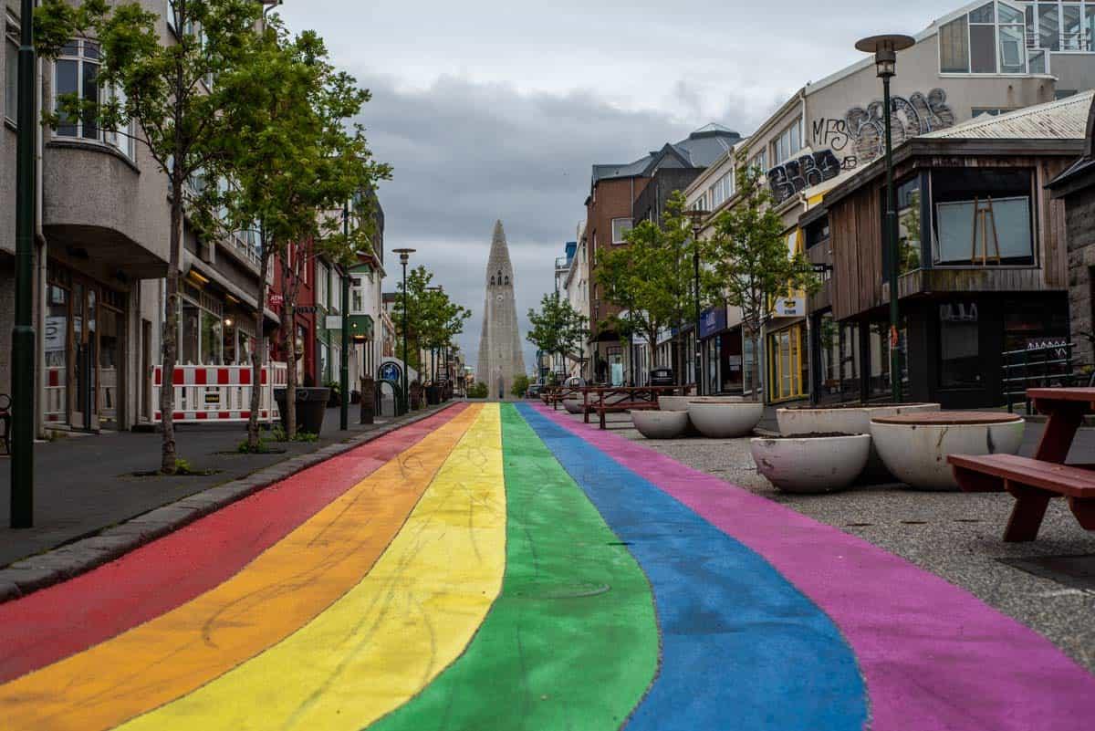 Pride rainbow road in Reykjavik