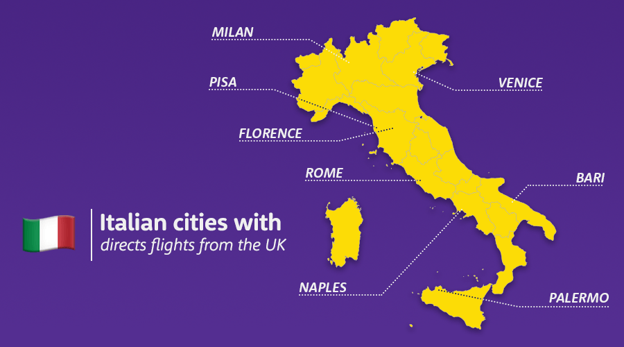 Italian cities with direct flights to the UK