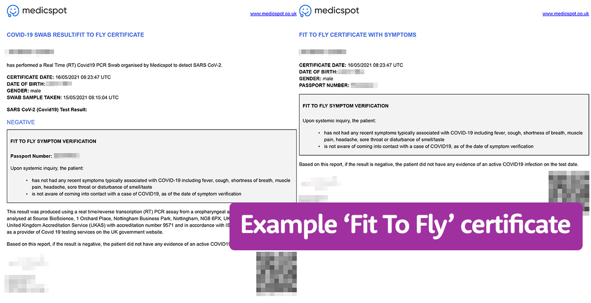 An example of a fit to fly certificate