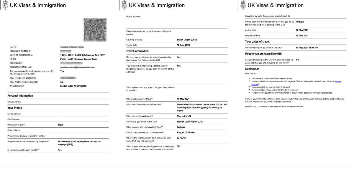 Passenger Locator Form for re-entry into the UK