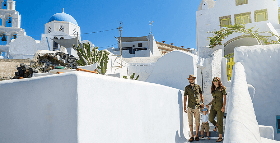 Family Enjoying Santorini