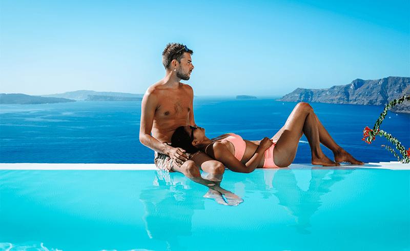 Infinity pool in Santorini