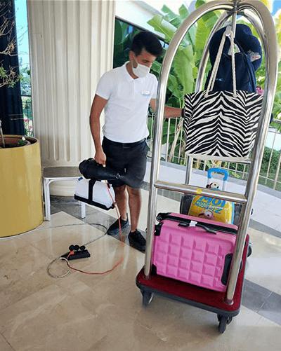 Staff sanitising bags