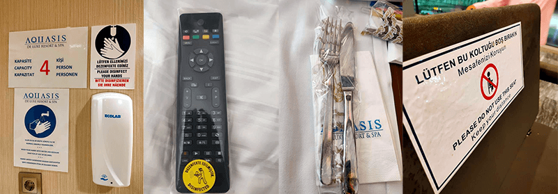 Sanitised remotes and cutlery
