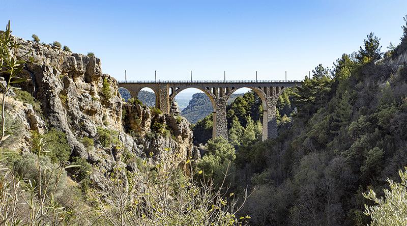 Rail bridge over gorge