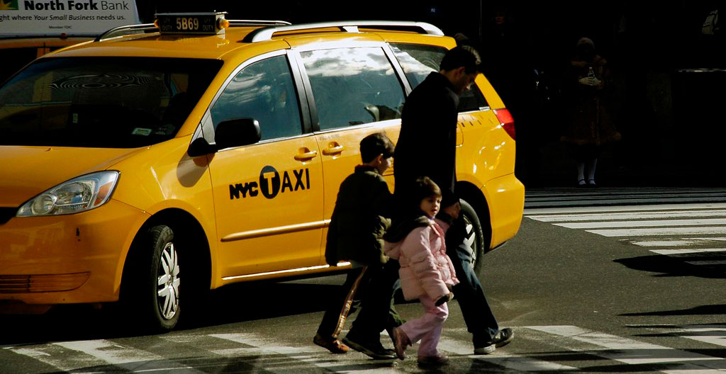 children travelling alone in a taxi