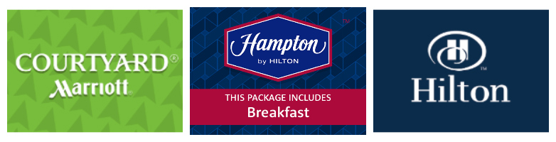 gatwick airport south terminal hotel and parking packages, hotel logos for courtyard by marriott, the hampton by hilton, and the hilton