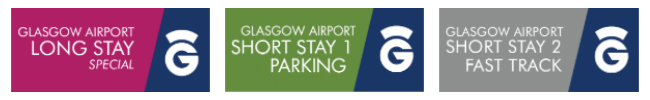 official glasgow airport car park logos, long stay, short stay 1 and short stay 2