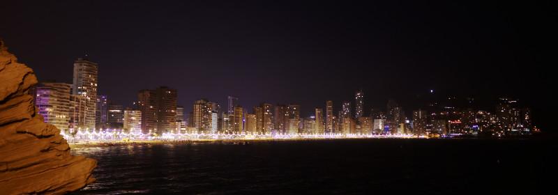 Benidorm 4 star hotels, skyline at night