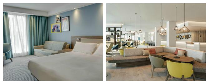hampton by hilton edinburgh airport hotels bedroom and restaurant