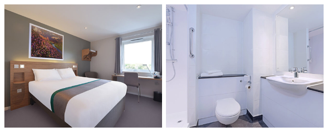 travelodge hotel at liverpool airport bedroom and bathroom