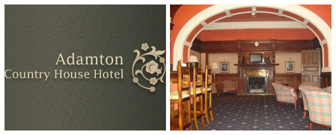 glasgow prestwick airport adamton country house logo and dining room banner